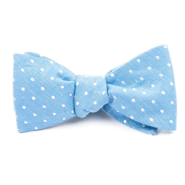 Light Blue Dotted Dots Bow Tie