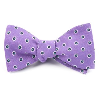 Half Moon Floral Purple Orchid Bow Tie