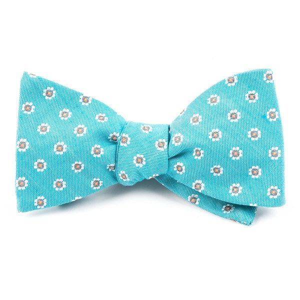 Turquoise Half Moon Floral Bow Tie
