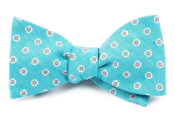 Half Moon Floral Turquoise Bow Tie