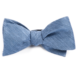 festival textured solid slate blue bow ties