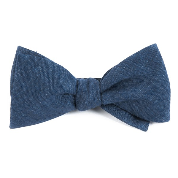 Navy Freehand Solid Bow Tie