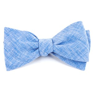freehand solid light blue bow ties
