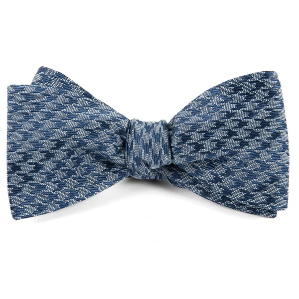 Blue White Wash Houndstooth Bow Tie