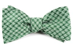 Bow Ties - White Wash Houndstooth - Moss Green