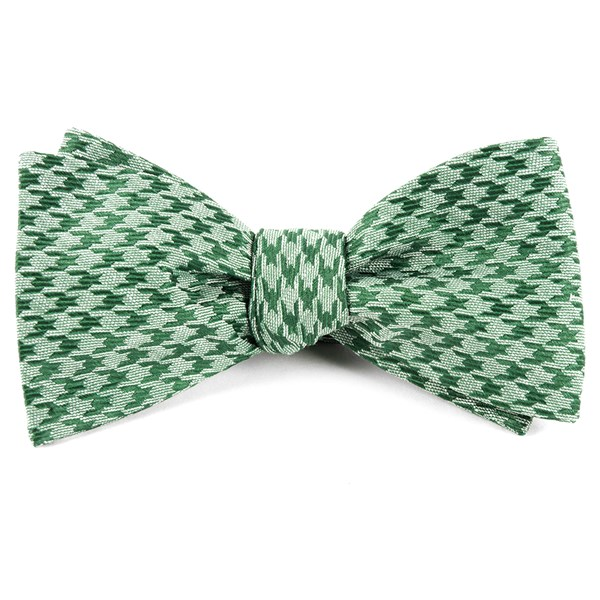 Moss Green White Wash Houndstooth Bow Tie