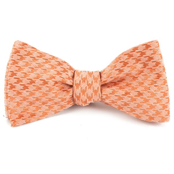 Orange White Wash Houndstooth Bow Tie