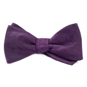 linen row eggplant bow ties