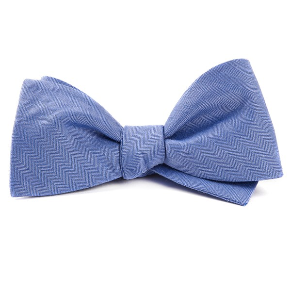 Light Blue Linen Row Bow Tie