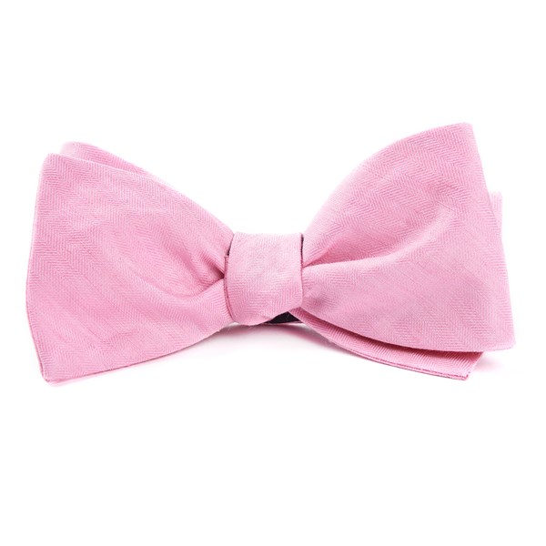 Baby Pink Linen Row Bow Tie