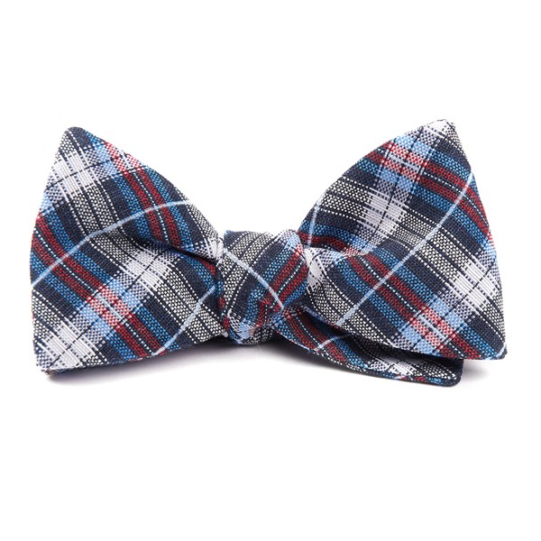 Navy Plaid Outlook Bow Tie