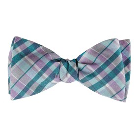 Pool Blue Ultraviolet Plaid bow ties