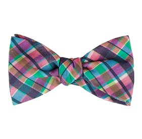 Ultraviolet Plaid Hot Pink Bow Ties