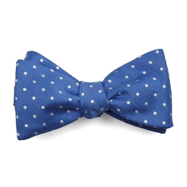 Light Cobalt Blue Dotted Dots Bow Tie