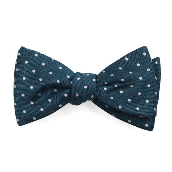 Teal Dotted Dots Bow Tie