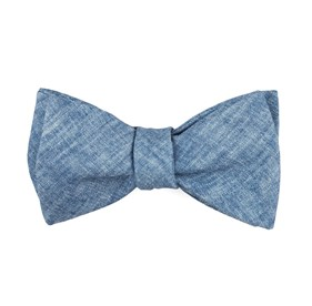 Classic Blue Freehand Solid bow ties