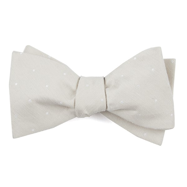 Light Champagne Bulletin Dot Bow Tie