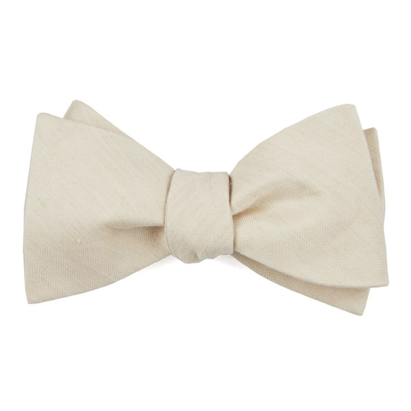 Light Champagne Linen Row Bow Tie