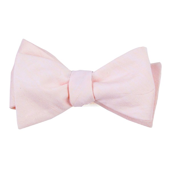 Blush Pink Linen Row Bow Tie