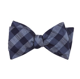 Slate Blue Hale Checks bow ties