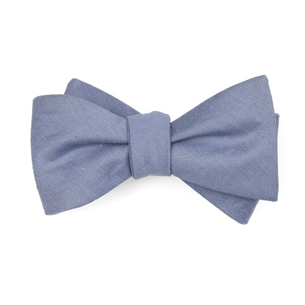Slate Blue Linen Row Bow Tie