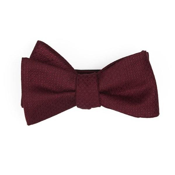 Burgundy Dotted Spin Bow Tie