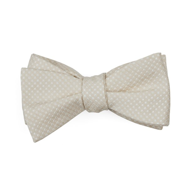 Light Champagne Dotted Spin Bow Tie