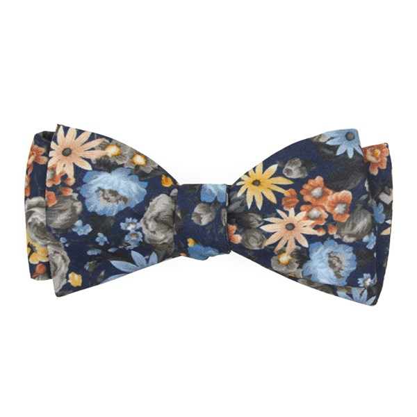 Navy Duke Floral Bow Tie