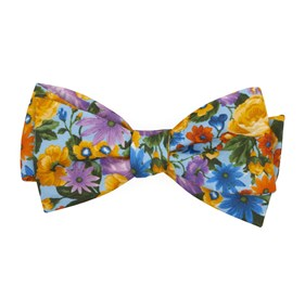 Light Blue Duke Floral bow ties
