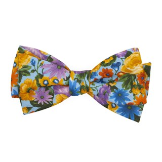 Duke Floral Light Blue Bow Tie