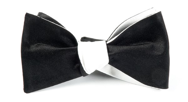 Solid Satin Black On White Bow Tie