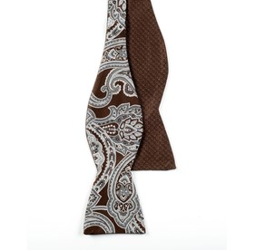 Chocolate Brown Speckled Paisley bow ties
