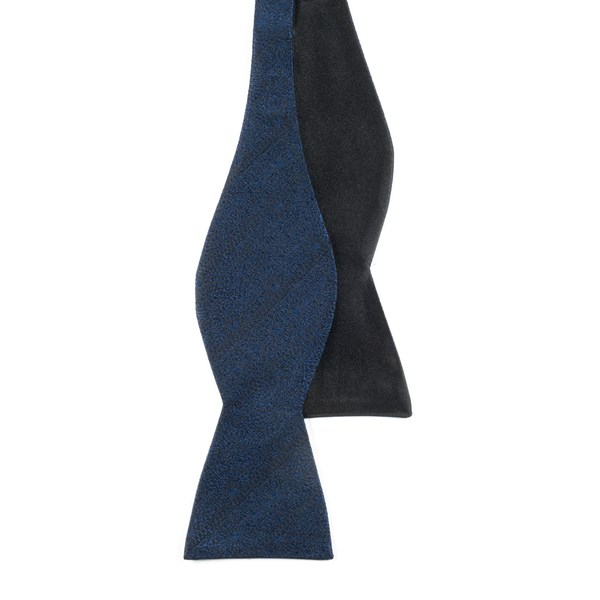 Navy Interlaced Solid Bow Tie