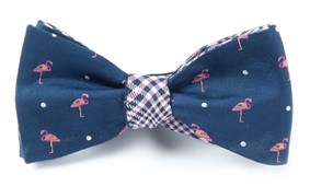 BOW TIES - FLAMINGO PLAID - NAVY