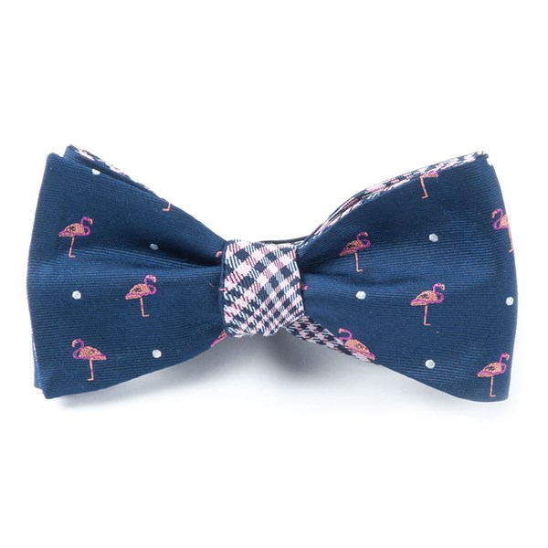 Navy Flamingo Plaid Bow Tie