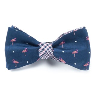 Flamingo Plaid Navy Bow Tie
