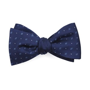 geo herringbone navy bow ties