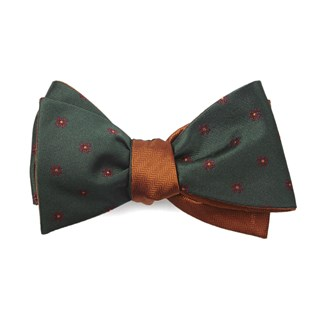 floral wave herringbone hunter green bow ties