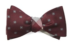 Bow Ties - Floral Pitch - Burgundy