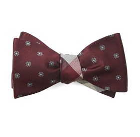 Burgundy Floral Pitch bow ties