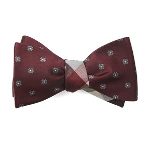 floral pitch burgundy bow ties