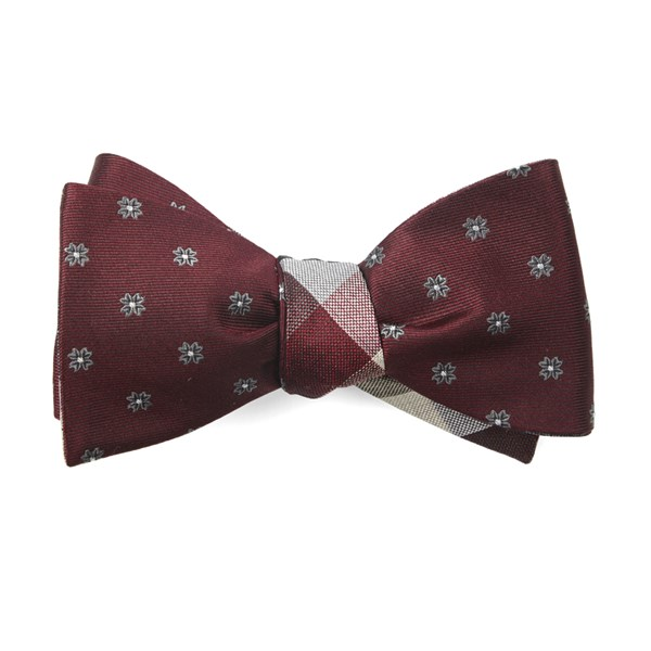 Burgundy Floral Pitch Bow Tie
