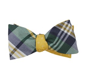 Hunter Green Crystal Wave Round bow ties