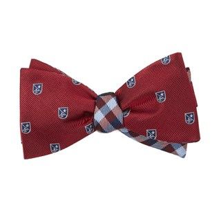 first string plaid red bow ties