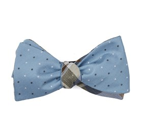 Steel Blue Suited Polka Plaid bow ties