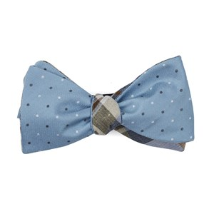 suited polka plaid steel blue bow ties
