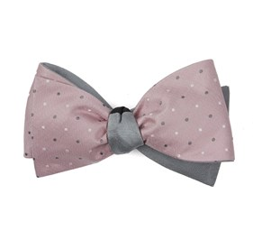 Pink Suited Polka Herringbone bow ties