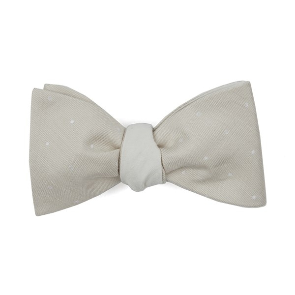 Light Champagne Bulletin Dot Row Bow Tie