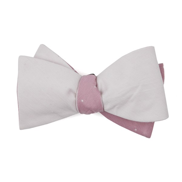 Blush Pink Linen Row Dot Bow Tie