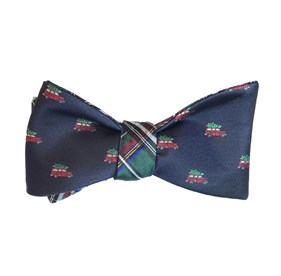 Navy Christmas Vacation Plaid bow ties